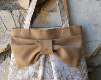 """Vintage Toile """"Ho-Bow"""" tote bag.  In Carmel, Brown and Ivory. Dutch countryside print."""