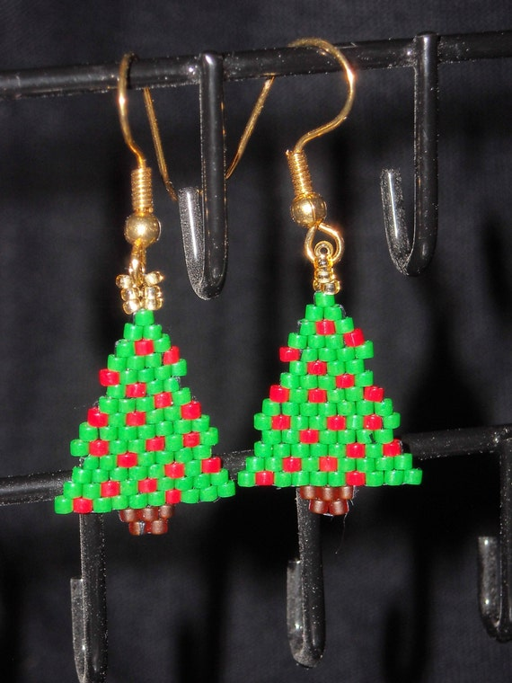 Christmas Tree Beadwoven Dangle Earrings Brick Stitch Opaque