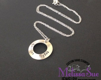 Hand Stamped Sterling Silver Name Washer