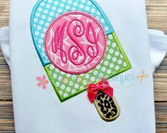 Popsicle Monogram Machine Embroidery Applique Design