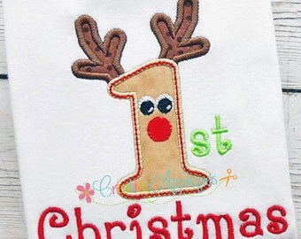 1st First Christmas Reindeer Digital Machine Embroidery Applique Design 3 Size, rudolph applique, reindeer applique, 1st christmas, baby's