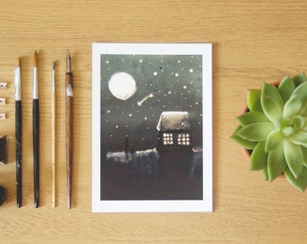 Bright night sky, Giclee print of an original illustration by Carla Adol