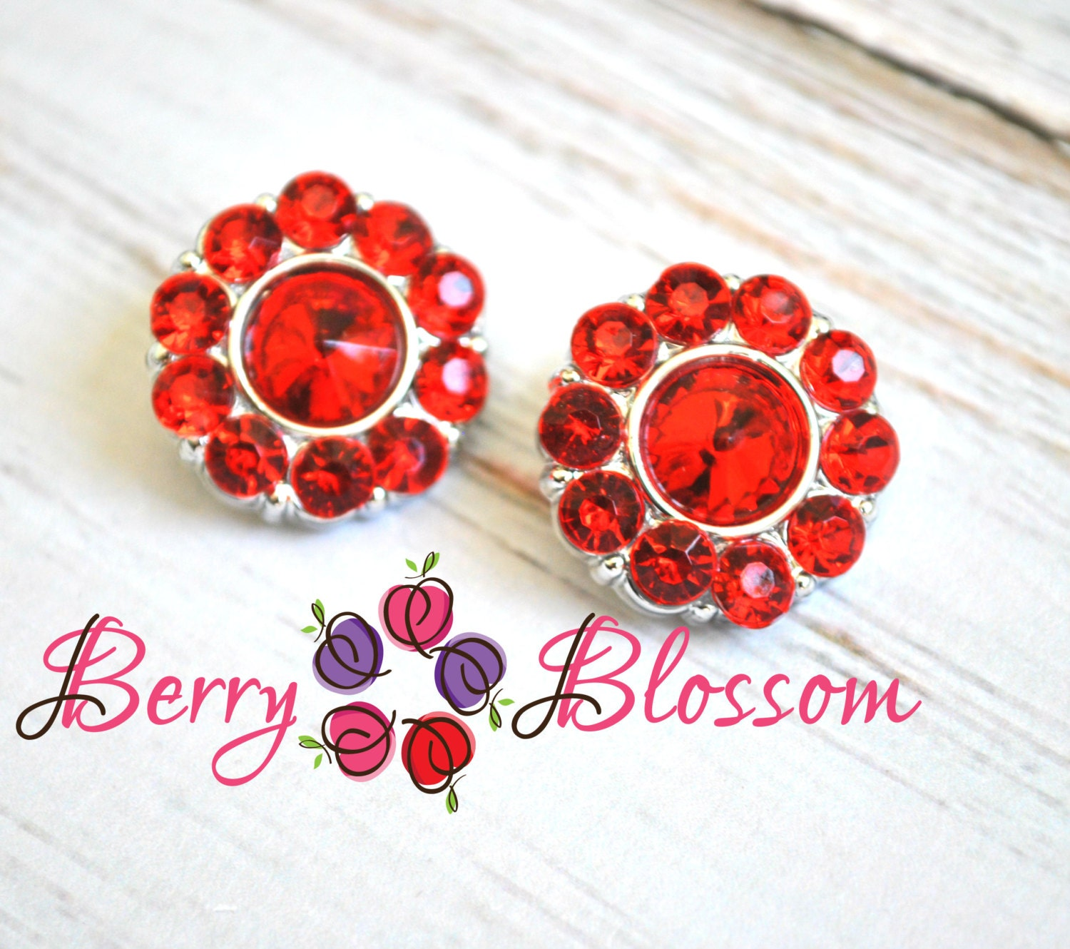 Hair bow button accessories - 21mm Red Rhinestone Button Set Of 2 Acrylic Buttons Flower Centers Hairbow Supplies Gem Accessories
