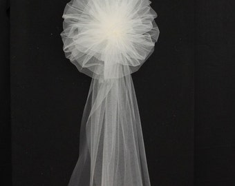 Ivory Tulle Wedding Pew Bows Church Ceremony Asile Decorations