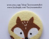 Pocket mirror fox fabric