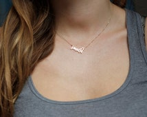 Tiny Name Necklace, Small Name Necklace, Tiny Letter Necklace, Gold Name Necklace