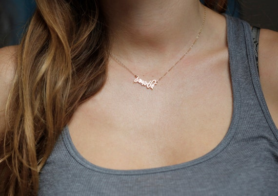 tiny name necklace small name necklace tiny letter necklace With small letter name necklace