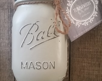 Country Chic-  Cream Antiqued Mason Jar