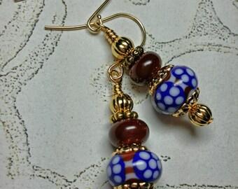 Red, White & Blue Polka Dot Lampwork Glass Earrings