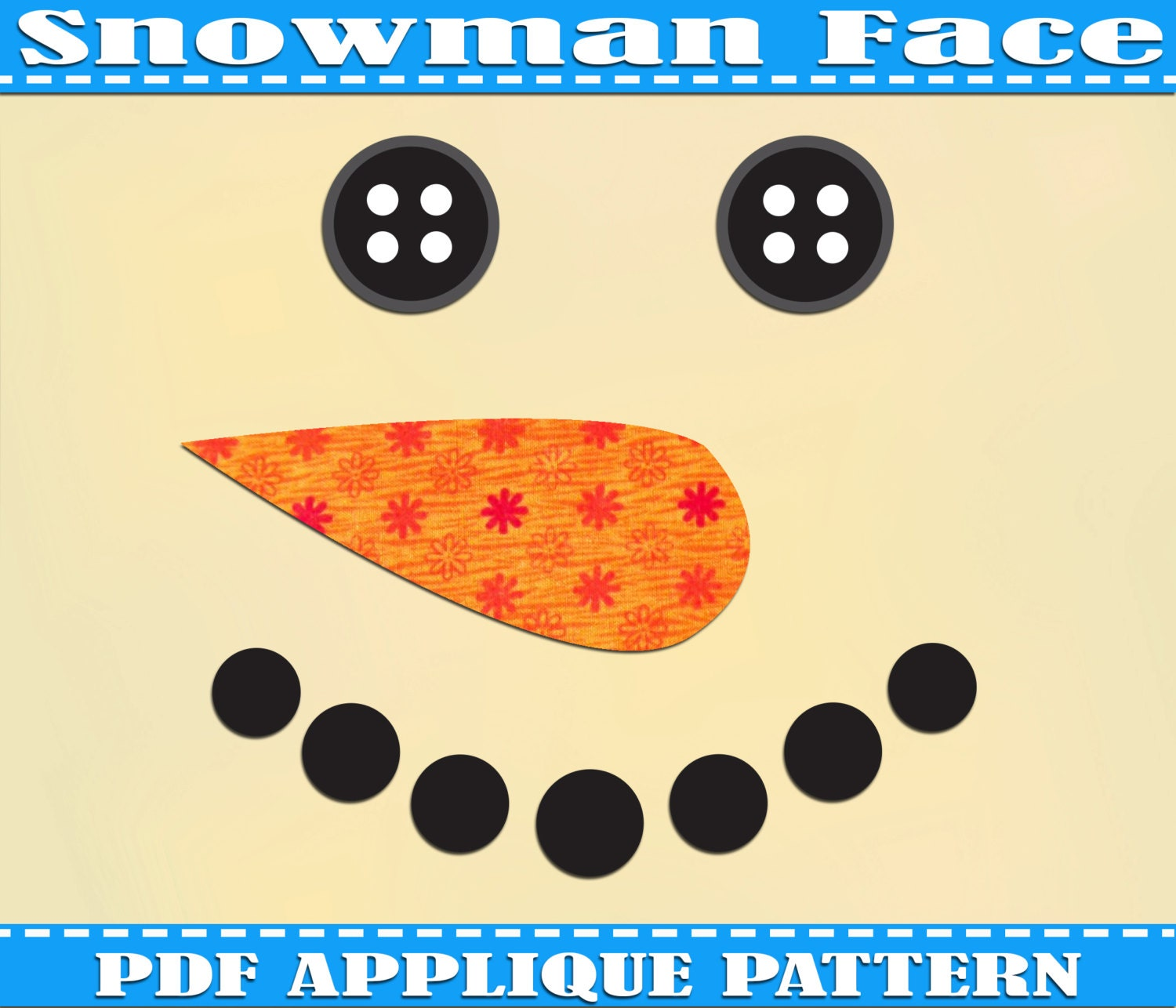 Instant Download Snowman Face Applique by AdornablePatterns