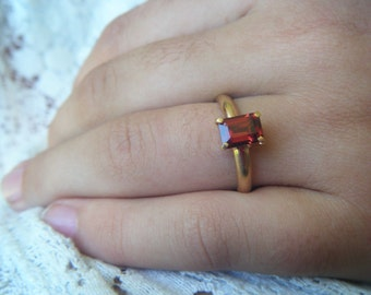 Alternative color engagement ring, emerald cut garnet ring, gold garnet ring, alternative engagement ring, ethical gold, conflict free gem