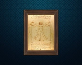Vitruvian Man by Leonardo da Vinci - Science art - recovered image