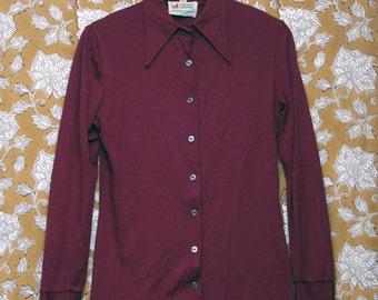 1970s Crazy Horse Maroon Button Down Shirt L