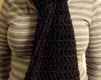 Long Dark Gray Crochet Scarf