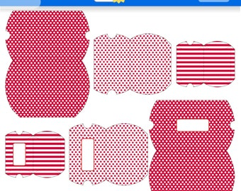 Red Polka Dots and Stripes Printable Gift Boxes for Instant Download. PDF. Pillow Boxes. Favor Boxes