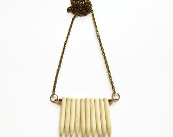 Long spike necklace, White howlite necklace, Howlite jewelry, Spike jewelry