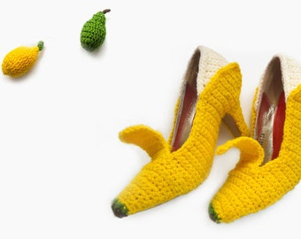 Banana Heels, banana shoes, banana, fruit, banana high heels, crochet shoes, food, fruit shoes, fruit and fashion, food and fashion, crochet