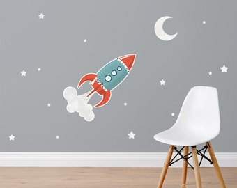 Blast Off (Rocket) Fabric Wall Stickers/Wall Decals