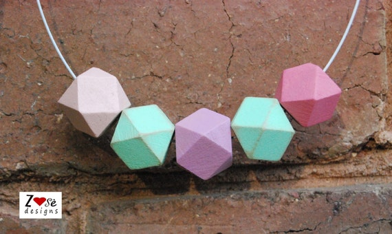Geometric Wooden Necklace in Pastel Colors