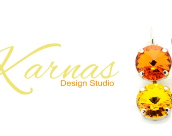 CITRUS COOLER Crystal Rivoli 12mm Double Drop Earrings Made With Swarovski Elements *Pick Your Finish *Karnas Design Studio *Free Shipping*