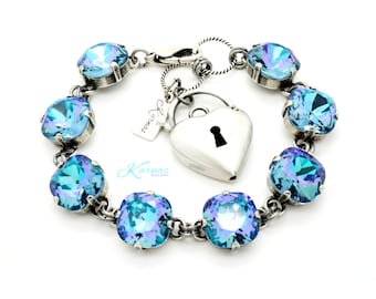 AQUA VITRAIL SHIMMER 12MM Cushion Cut Pendant Bracelet Made With Swarovski Crystal *Pick Your Finish *Karnas Design Studio™ *Free Shipping*