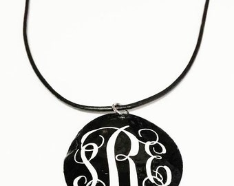 Monogrammed black shell necklace