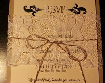 Rustic Country Chic Wedding Invitations