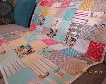 Handmade 100% cotton Riley Blake's: 'Sasparilla' cowboys theme children's cot/toddler bed quilt.