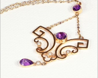 Antique Edwardian Amethyst and Pearl Lavaliere Pendant on Chain Necklace, 9k Gold