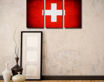 Switzerland Flag Triptych