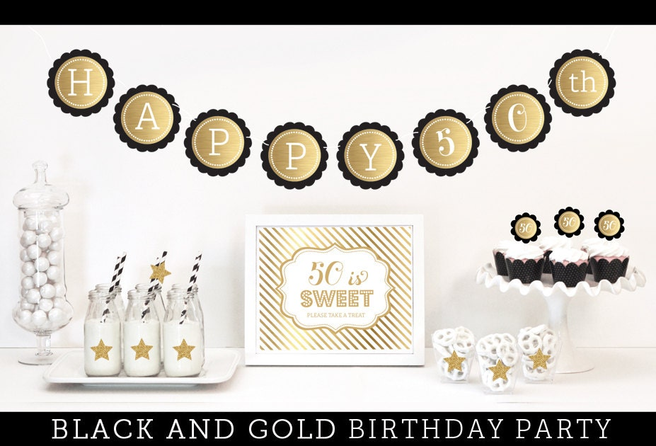 Black and gold party decorations 50th birthday party for 50th birthday decoration packages