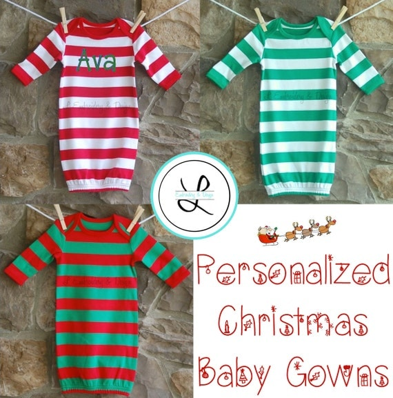 Items similar to Personalized Baby Christmas PJs Gown - Kids ...