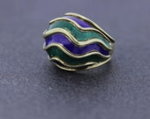 Blue and Green Enamel Wave Ring in 14K Gold