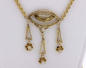 14K Gold Necklace with Diamonds and Pearls with Filigree