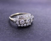 14K Gold Two Tone Ring with Diamonds