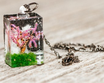 Spring Tree Resin Pendant Necklace #2