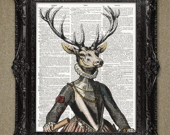 Dictionary Art Print -16th Century Engraving - Handsome Deer Dictionary Page Art Print. Vintage animal art print.