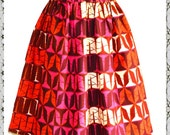 Samantha Midi Pink Gathered African Print Skirt  Ladies Summer Full Skirts