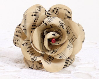Music Roses,  vintage sheet music paper rose, upcycled paper decoration, paper flower, sheet music bouquet