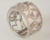 18K White gold natural rose cut diamond eternity ring    1.59 carats.   free ship. m106002.