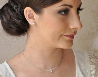Very delicate rhinestone wedding necklace