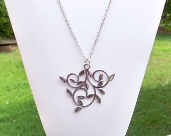 Silver Leaf Necklace Silver Leaf Pendant Necklace Leaf on Silver Chain Necklace Long Leaf Pendant Necklace Nature Pendant Necklace Vines