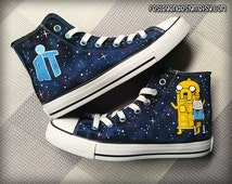 Adventure Time Doctor Who Custom Converse / Painted Shoes