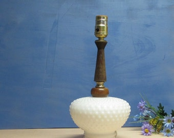 White Milk Glass Hobnail Lamp Cottage Chic Table Lamp