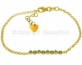1.55 Ct 14k Solid Gold Bracelet with Natural Peridot / Charm Bracelet / Gemstone Jewelry / Fine Jewelry (Yellow Gold, White Gold, Rose Gold)