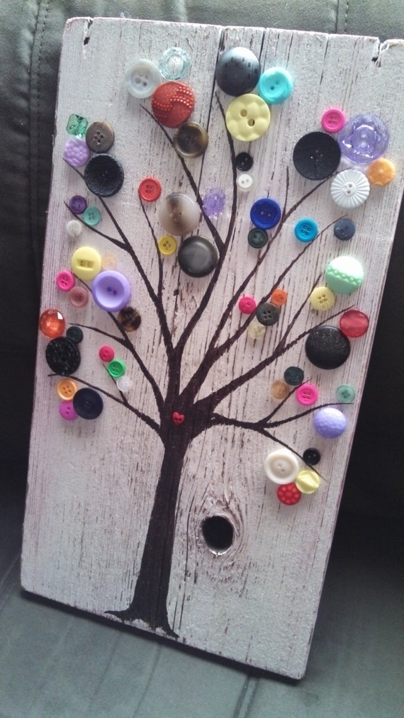 Items similar to rustic button tree artwork ready to hang for Art craft using waste materials
