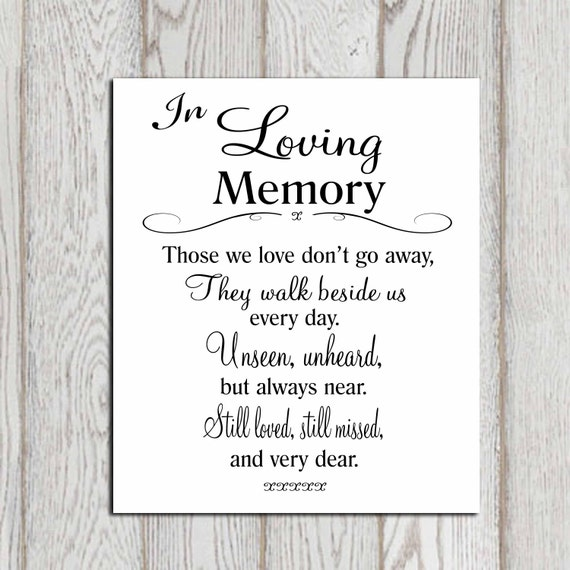 Wedding Memorial Table In Loving Memory Printable Memorial
