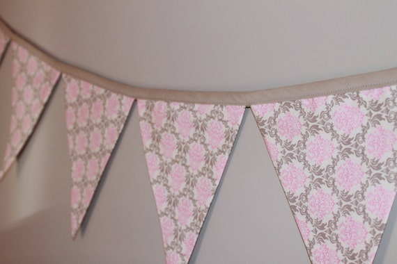 Pink and gray grey damask fabric bunting by for Pink and grey nursery fabric