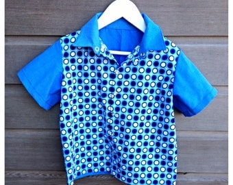 Boys retro bowling shirt / Blue hipster shirt / funky blue party shirt / rockabilly shirt / Size 5 / Ready to ship