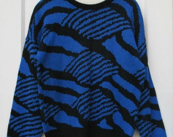 Womens Vintage 80's Abstract Zebra Sweater